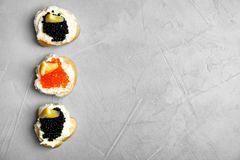 Sandwiches with black and red caviar. On grey background Royalty Free Stock Images