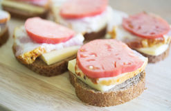 Sandwiches on a board Royalty Free Stock Image