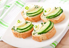 Sandwiches with boiled egg Stock Images