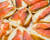 Sandwiches with butter and red fish Stock Image