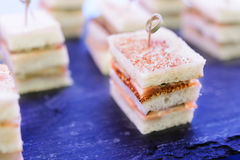 Sandwiches Canapes with fish. Stock Image