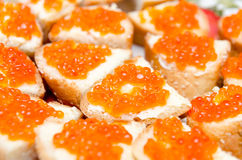 Sandwiches with caviar Stock Photography