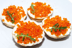 Sandwiches with caviar Royalty Free Stock Image