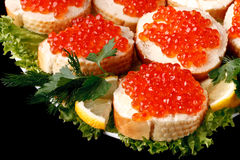 Sandwiches with caviar Stock Image