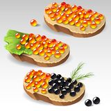 Sandwiches with caviar. Illustration of sandwiches with caviar Royalty Free Stock Photo