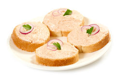 Sandwiches with caviar paste Royalty Free Stock Photos
