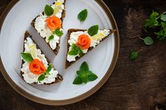 Sandwiches with cereals bread, salmon, fresh cheese, basil and lemon on plate. Top view, copy space royalty free stock photo