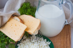 Sandwiches with cheese, dill, milk, curd Stock Photos