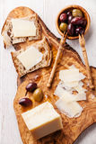 Sandwiches with cheese and olives Stock Photo