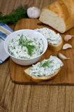 Sandwiches with cheese and parsley. Royalty Free Stock Image