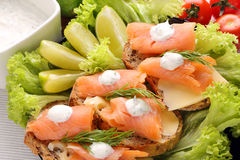 Sandwiches with cheese, salmon and dill dip Stock Images