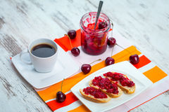 Sandwiches with cherry jam Royalty Free Stock Images