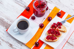 Sandwiches with cherry jam Royalty Free Stock Photo