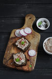 Sandwiches with chicken liver pate Stock Image