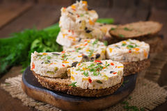 Sandwiches chicken meatloaf with vegetables. Stock Photo