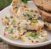 Sandwiches chicken meatloaf with vegetables. Stock Photos