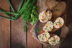 Sandwiches chicken meatloaf with vegetables. Top view Royalty Free Stock Image