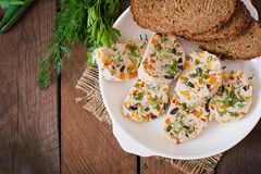 Sandwiches chicken meatloaf with vegetables. Top view Stock Photography