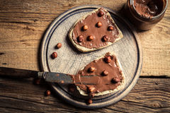 Sandwiches with chocolate and nuts Royalty Free Stock Images