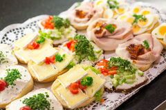 Sandwiches with cold cuts on a tray Stock Photos
