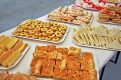 Sandwiches and cookies. Sandwiches and pastries for a party Royalty Free Stock Photography