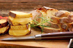 Sandwiches with corn bread with melted cheese and space for text.  royalty free stock photography
