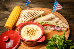 Sandwiches and corn Royalty Free Stock Images