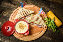 Sandwiches and corn Royalty Free Stock Image