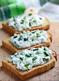 Sandwiches with cottage cheese Royalty Free Stock Photo