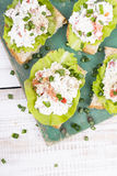 Sandwiches with cottage cheese Royalty Free Stock Photos