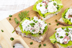 Sandwiches with cottage cheese, chives and salad. Royalty Free Stock Photo