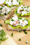 Sandwiches with cottage cheese, chives and salad. Royalty Free Stock Photos