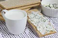 Sandwiches with Cottage Cheese. Healthy breakfast bread royalty free stock image