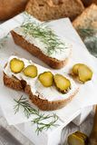 Sandwiches with cream cheese,fresh dill and salted cucumber. Sandwiches with cream cheese,fresh dill and salted  cucumber Stock Photos
