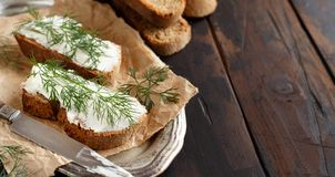 Sandwiches with cream cheese and fresh dill Royalty Free Stock Photo