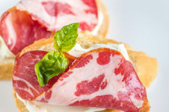 Sandwiches with cream cheese and ham Stock Photography