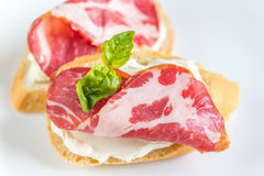 Sandwiches with cream cheese and ham Royalty Free Stock Photo