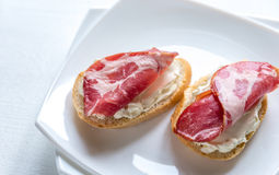 Sandwiches with cream cheese and ham Royalty Free Stock Photography