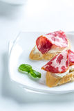 Sandwiches with cream cheese and ham Stock Photos