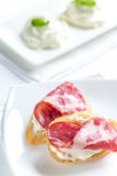 Sandwiches with cream cheese and ham Royalty Free Stock Photos