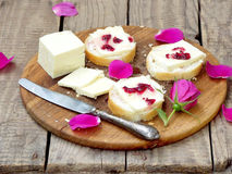 Sandwiches with cream cheese and jam of tea roses Stock Image