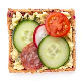Sandwiches with cream cheese, vegetables and salami royalty free stock images