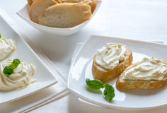 Sandwiches with cream cheese Royalty Free Stock Images