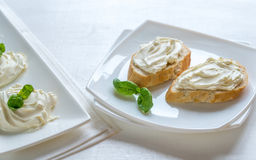 Sandwiches with cream cheese Royalty Free Stock Photo