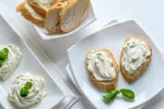 Sandwiches with cream cheese Stock Photo