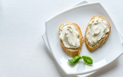 Sandwiches with cream cheese Stock Photos