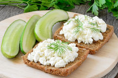 Sandwiches with curd cheese Stock Photo