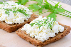 Sandwiches with curd cheese Stock Photography