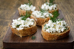 Sandwiches with curd cheese Royalty Free Stock Photography