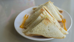 Sandwiches. Cut sandwiches in white dish Royalty Free Stock Photos